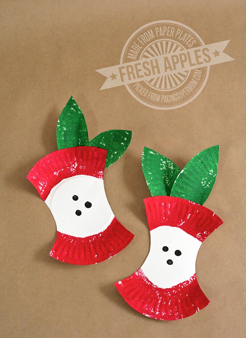 Mini Paper Plate Apples preschool applecraft backtoschool fall   Paper Craft Ideas For Preschoolers