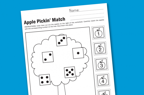 Apple Pickin' Preschool & Kindergarten Math Worksheet #preschool #printables #worksheet #math