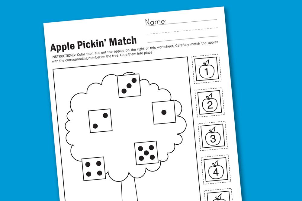 Apple Pickin' Preschool & Kindergarten Math Worksheet #preschool #printables #worksheet #math