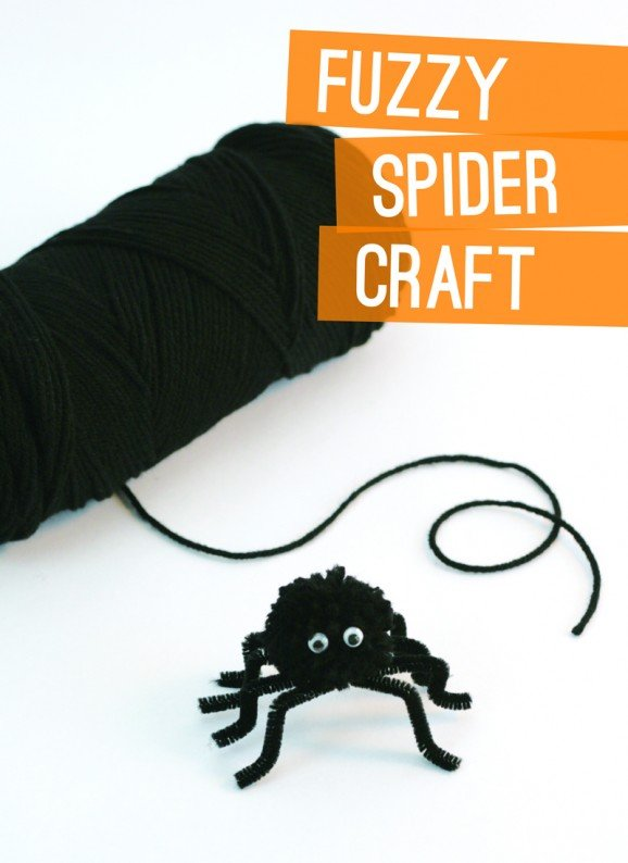 Fuzzy Spider Craft PagingSupermom.com #Halloween #KidsCraft #spider