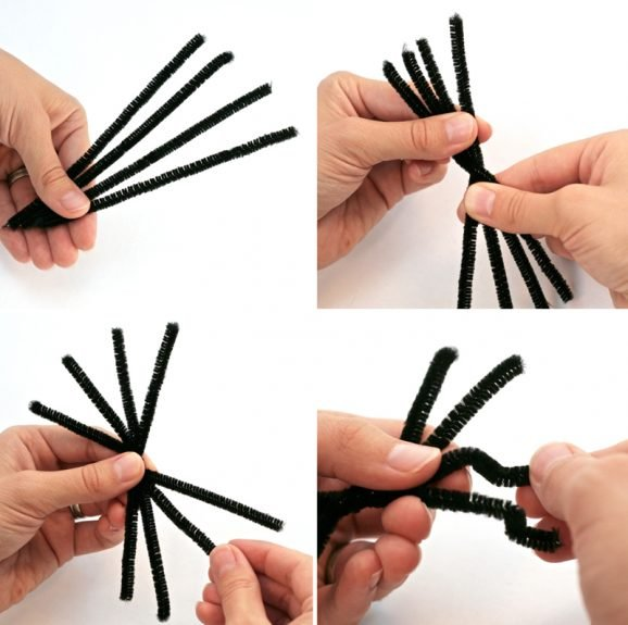 How to make fuzzy pompom spider #Halloween #spider #pipecleaners #craft