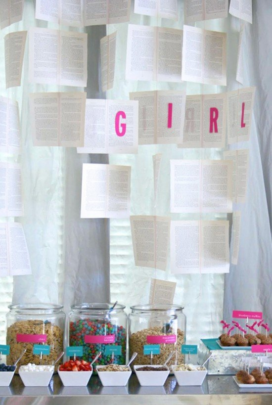 Book Page Garland at a Literary Baby Shower #babyshower #literature #parties