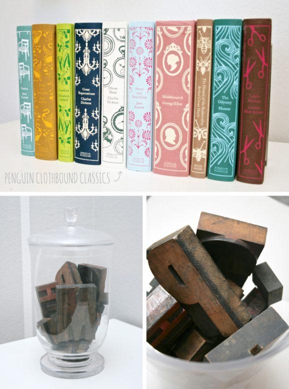Penguin Clothbound Classics and Letterpress Type #letterpress #penguinclassics pagingsupermom.com