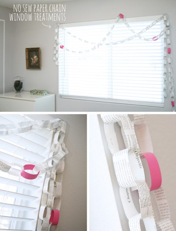 Can't Sew? No problem! Easy Paper Chain window treatments @pagingsupermom.com #nosew #windowtreatments #paperchain