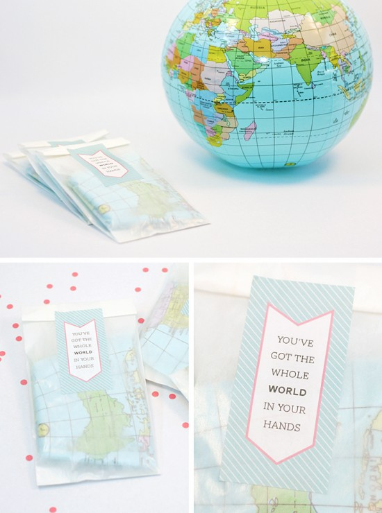 Inflatable Globe Party Favors for First Birthday #printables #partyfavors #birthday #globe