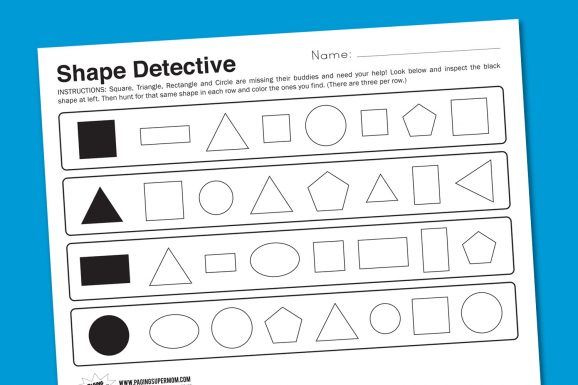 Shape Detective Kindergarten Math Worksheet #kindergarten #worksheets #shapes