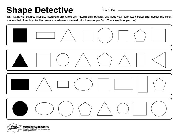 Kindergarten Shapes Worksheets | New Calendar Template Site