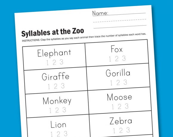 Worksheet Wednesday: Zoo Syllables