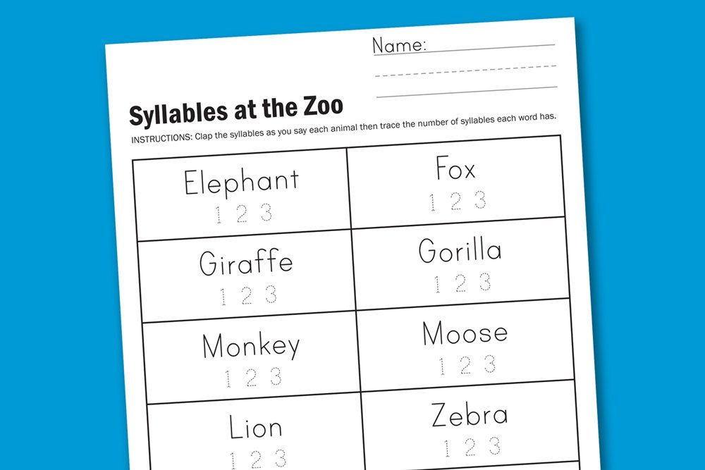 Worksheet Wednesday Zoo Syllables Paging Supermom – Syllable Worksheets for Kindergarten