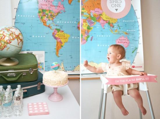 First Birthday World Globe Traveler Theme #globe #travel #luggage #birthday