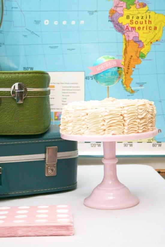 World Traveler First Birthday Theme with Globes and Vintage Maps & Luggage #firstbirthday #traveler #globe