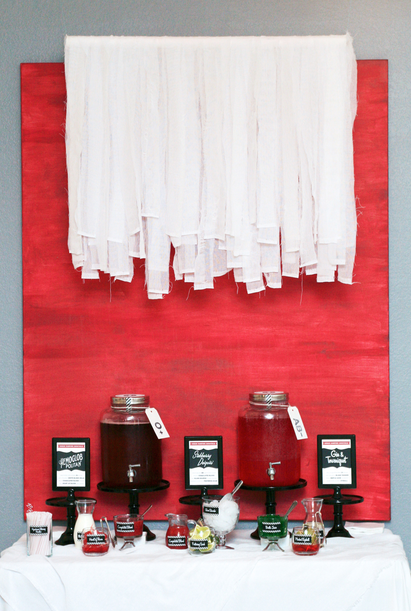 Blood Bar with Gauze Garland PagingSupermom.com #halloween #twilight #breakingdawn #bloodbar