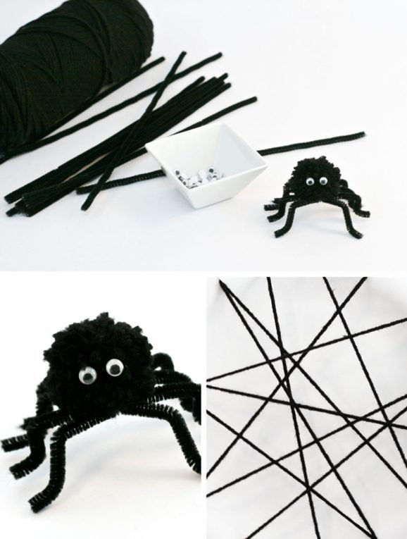 Easy Fuzzy Spider and Web Tutorial at PagingSupermom.com #halloween #spider #schoolparties