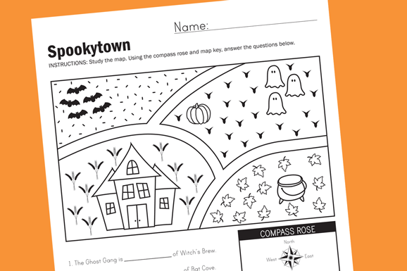 Spookytown Halloween Map Worksheet PagingSupermom.com #halloween #classparties #worksheet