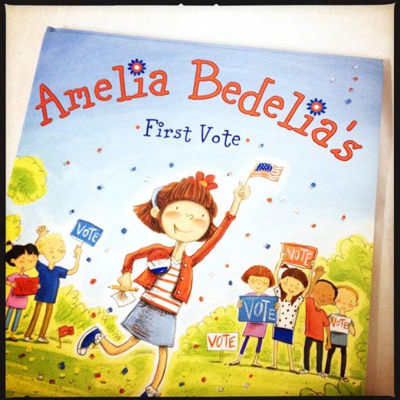 Cover of new book Amelia Bedelia's First Vote fun children's book PagingSupermom.com #ameliabedelia #vote