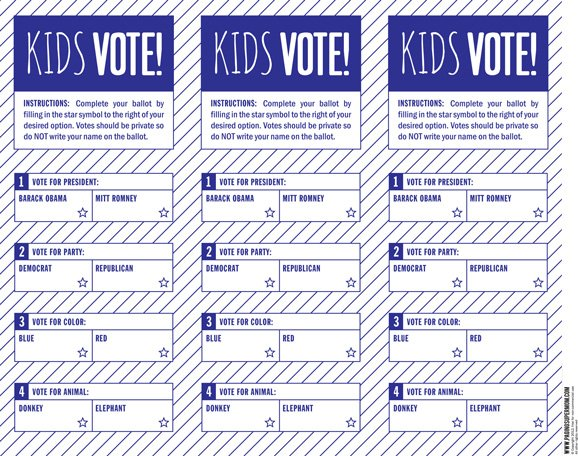 Free Printable Kids Ballot for Presidential Election 2012 ...
