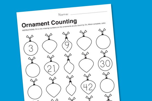 Ornament Counting Holiday Math Worksheet Free Download at PagingSupermom.com #printables #math #kindergarten #firstgrade