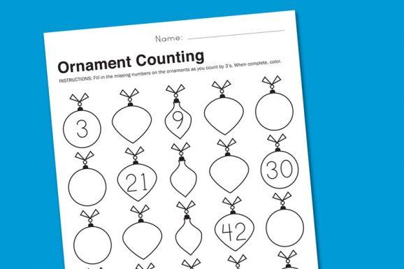 Ornament Counting Holiday Math Worksheet Free Download at PagingSupermom.com #printables #math #kindergarten #firstgrade