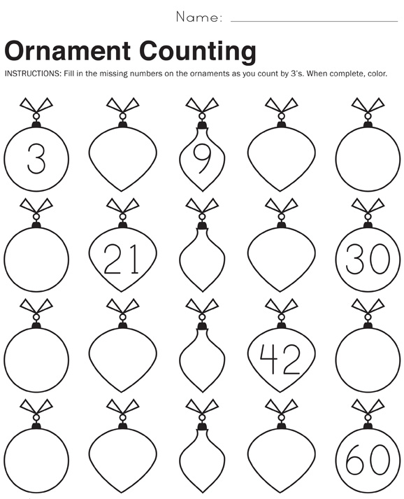 Ornament Counting Math Worksheets Paging Supermom – Year 1 Christmas Maths Worksheets
