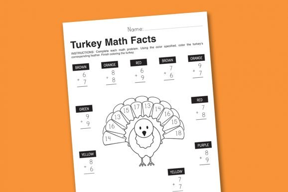 Thanksgiving Math Facts Worksheet Printable #thanksgiving #math