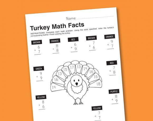 Worksheet Wednesday: Turkey Math Facts