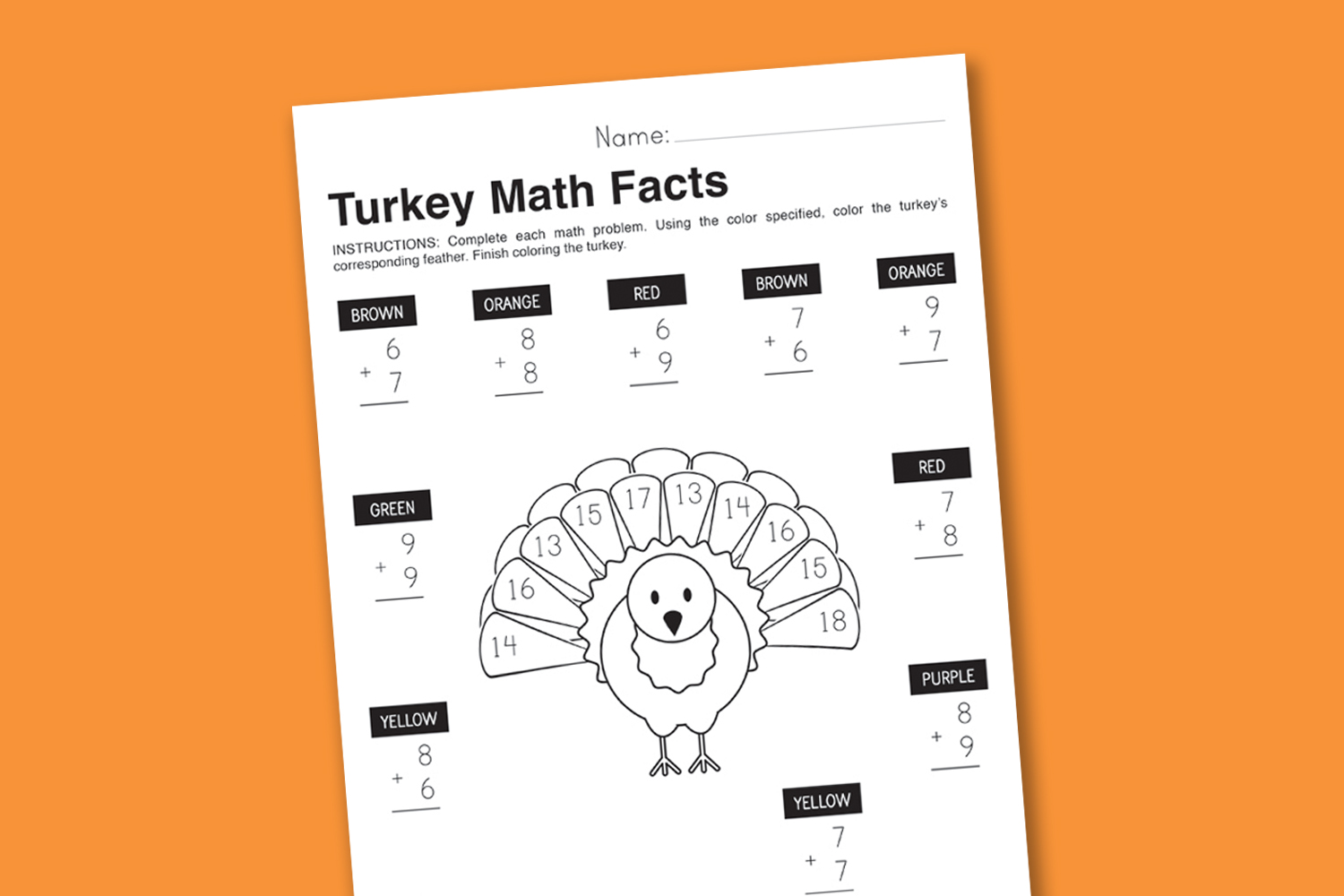 math worksheet : worksheet wednesday turkey math facts  paging supermom : Thanksgiving Math Worksheets Free