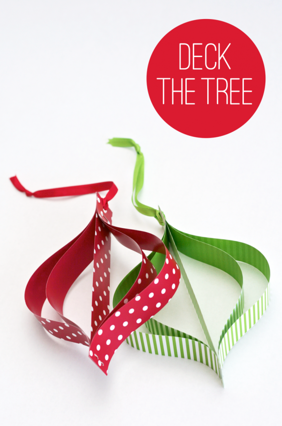 Tutorial to make these Mod Paper Ornaments at PagingSupermom.com #christmas #ornaments #kidscraft