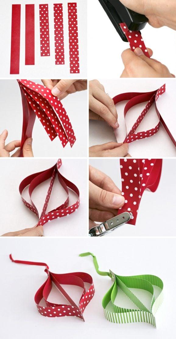 Mod Paper Ornament Tutorial at PagingSupermom.com #christmas #mod #ornament #tutorial