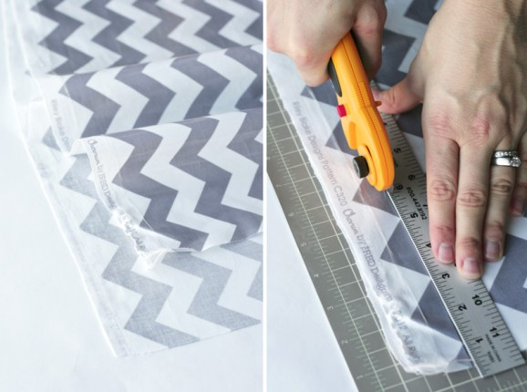 Tutorial for kid-friendly and no-sew Table Runner at PagingSupermom.com #centerpiece #tablerunner #partydecor #chevron