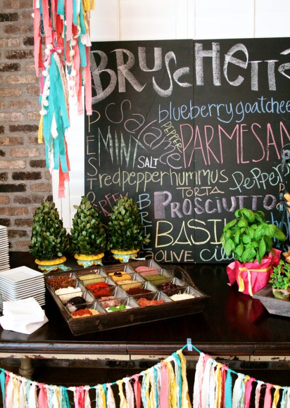 Bruschetta Bar at Tuscan Holiday Party #tuscan #holidayparty