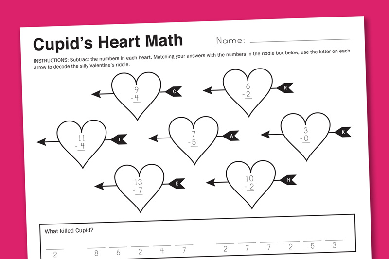 Free Valentine Math Worksheets Davezan – Valentine Day Math Worksheets