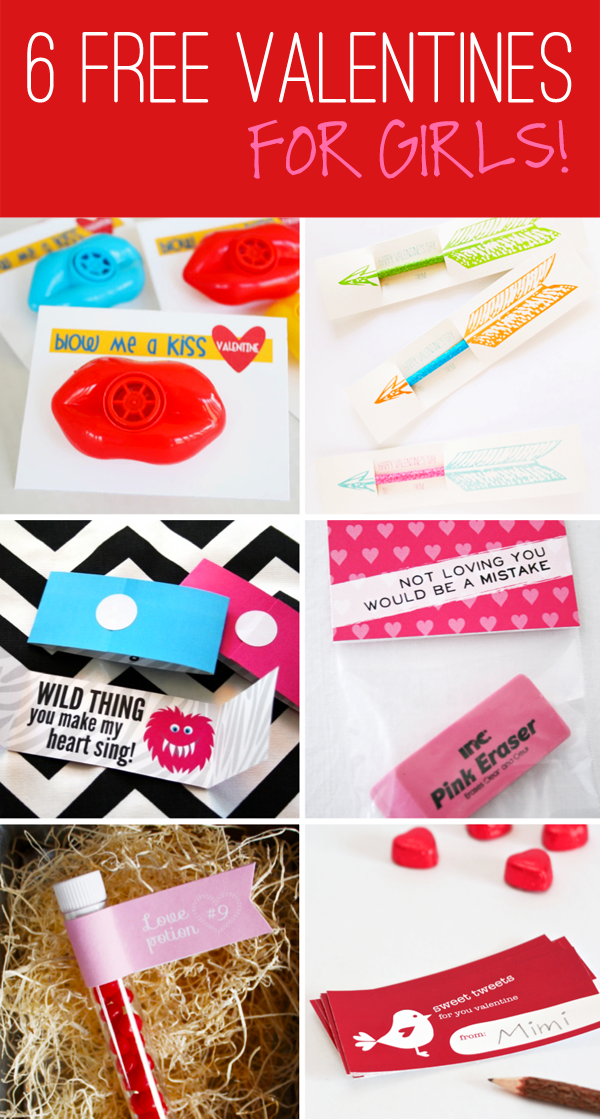Six Free Class Valentines for girls at PagingSupermom.com #valentines #printables #freevalentines #classvalentines #freebies