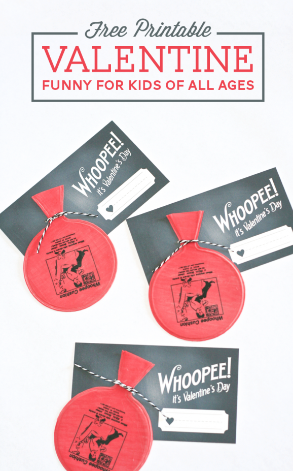 Free Printable Whoopee Cushion Valentine -- hilarious! From PagingSupermom.com #valentines #sillyvalentines #boyvalentines