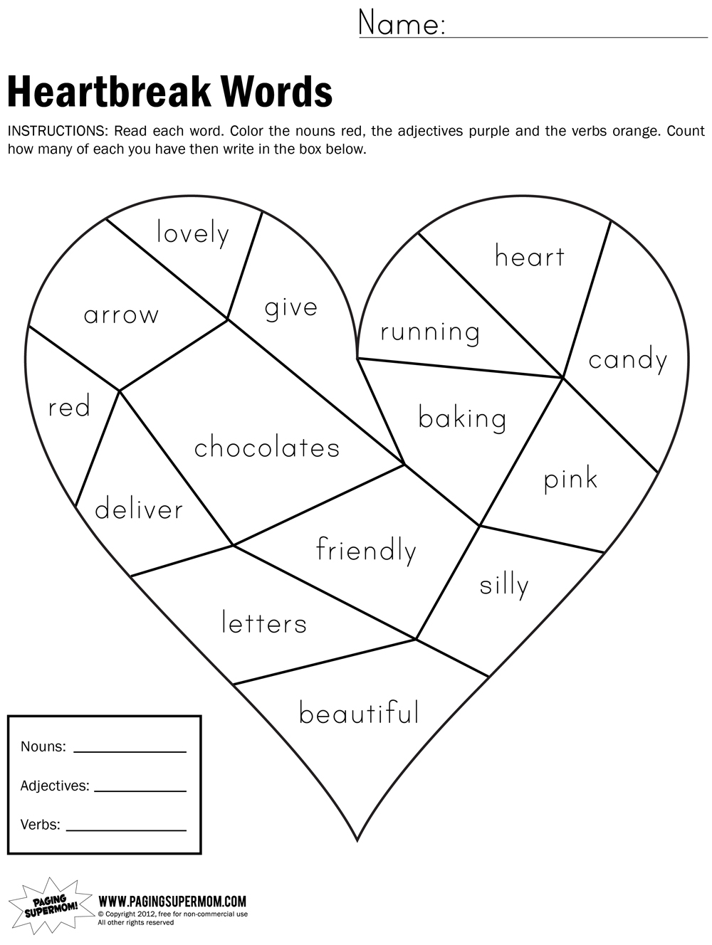 Mother S Day Worksheets 3rd Grade : Heartbreak words free printable worksheet paging supermom