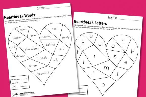 Heartbreak Worksheets from PagingSupermom.com Two version for Preschool through third grade! #valentines #classparties #worksheets