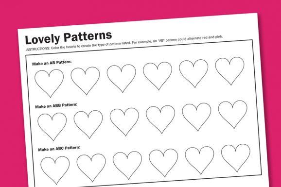 Heart Patterns Free Printable Worksheet from PagingSupermom.com #valentines #printables #kindergarten #worksheets