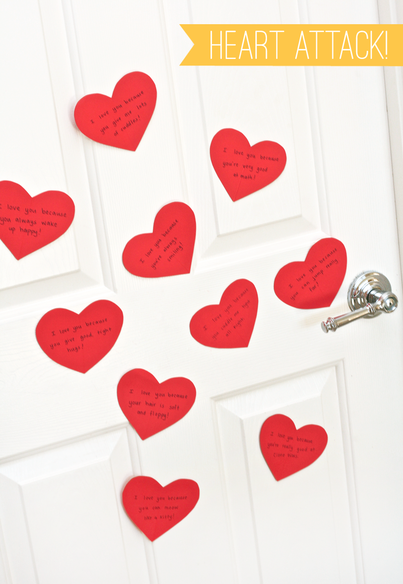 Heart Attack Door for Valentines on PagingSupermom.com #valentines #valentinesmorning
