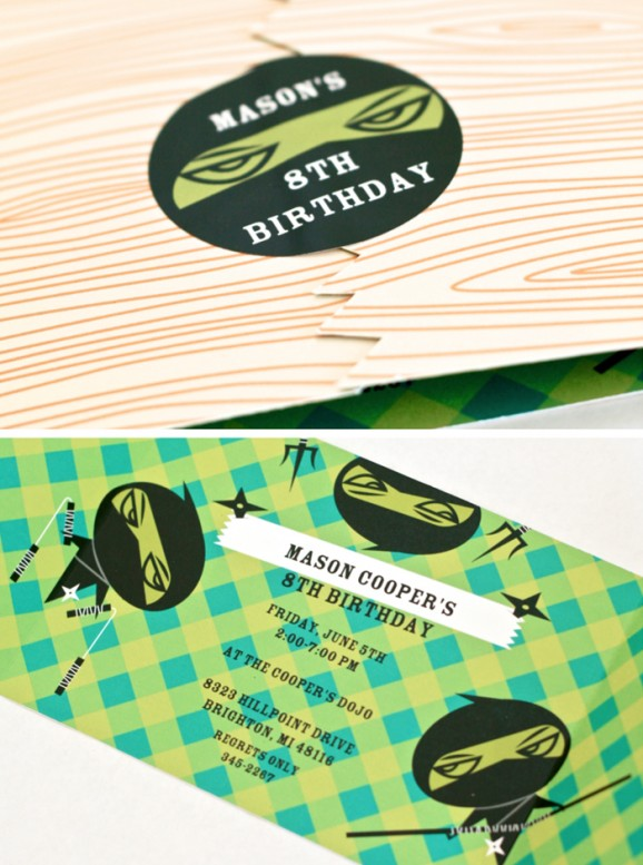 Invitations for a Cute Ninja Birthday Party PagingSupermom.com #ninja #ninjabirthdayparty