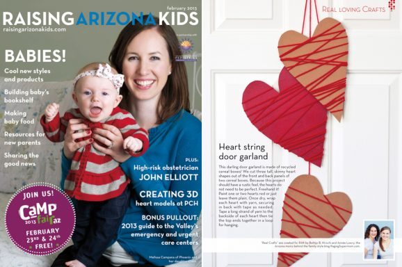 Heart Door Garland from Cereal Boxes and Yarn on PagingSupermom.com #valentines #recycledcraft #kidscraft