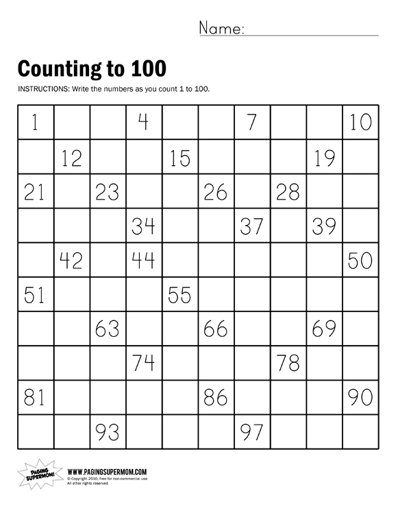 100 worksheet 1 counting to 100 worksheet 2 counting to 100 worksheet ...