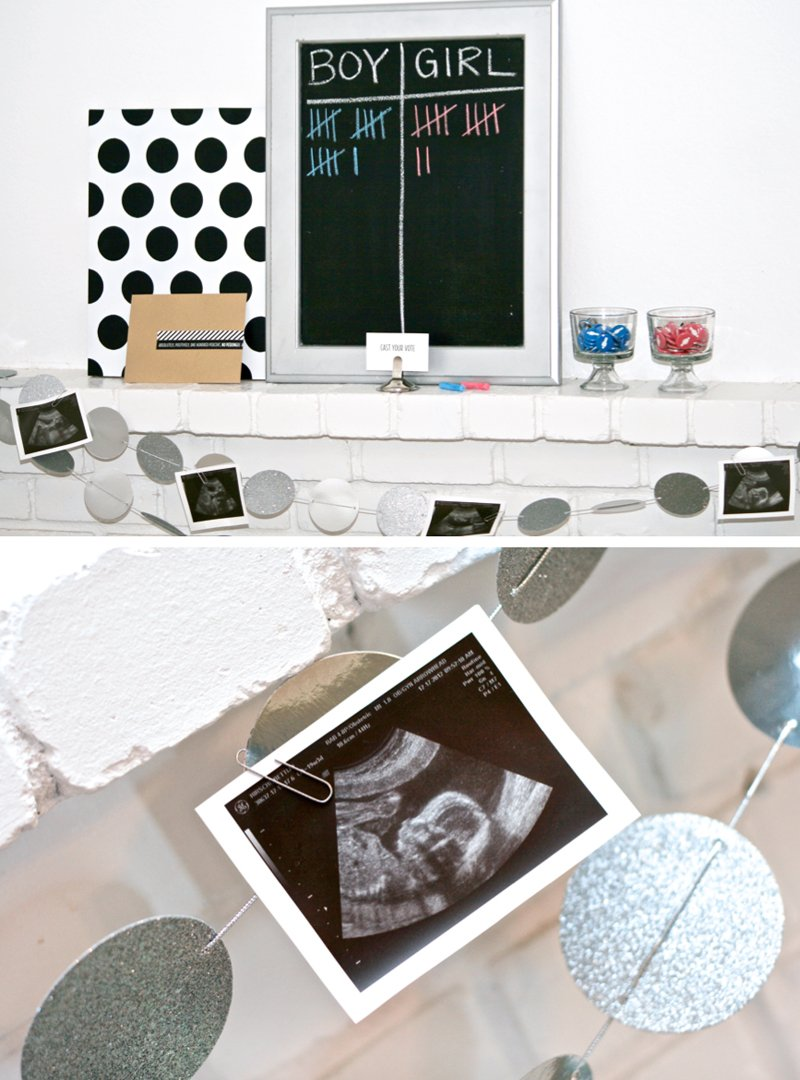 Voting Station for Baby Gender Reveal Party from PagingSupermom.com #genderreveal #babyshower #ultrasound