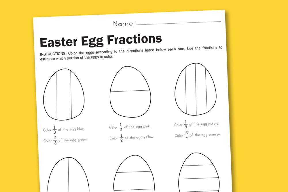 Worksheet Wednesday Easter Egg Fractions Paging Supermom – Coloring Fractions Worksheets Free