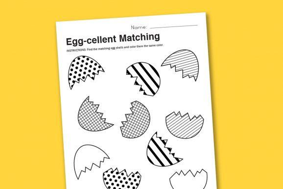 Easer Matching Worksheet and more at PagingSupermom.com #worksheet #easter #preschool