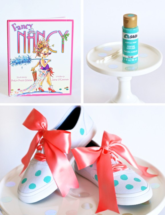 Make Fancy Nancy Shoes with PagingSupermom.com #fancynancy #mint #polkadots #kidscraft