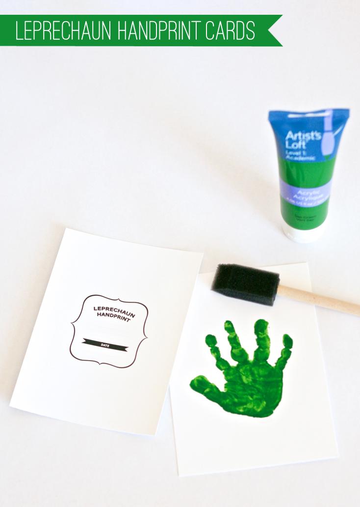 Mail Grandma these Leprechaun Handprints Cards free printable at PagingSupermom.com #stpatricksday #leprechaun #kidscraft