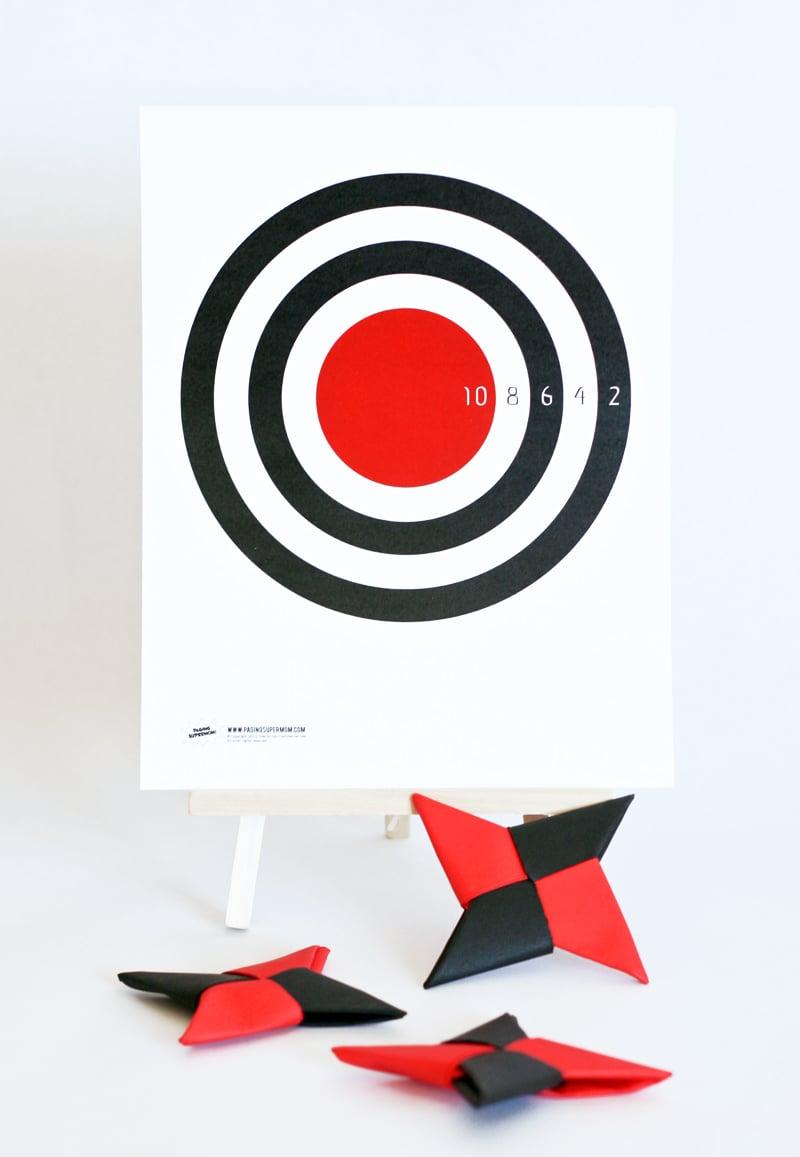 DIY Ninja Star Throwing Game and more ninja ideas at PagingSupermom.com #ninja #printable