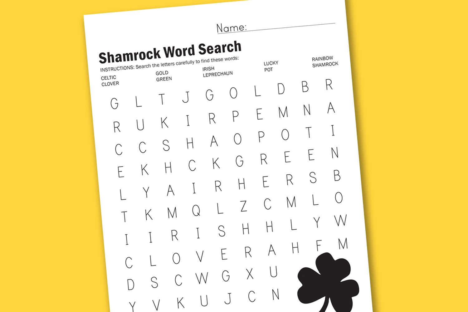 Printable Fall Word Search St patrick's day word search