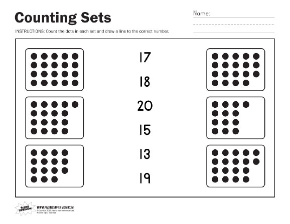 Counting Sets Worksheets – Printable Counting Worksheets for Kindergarten
