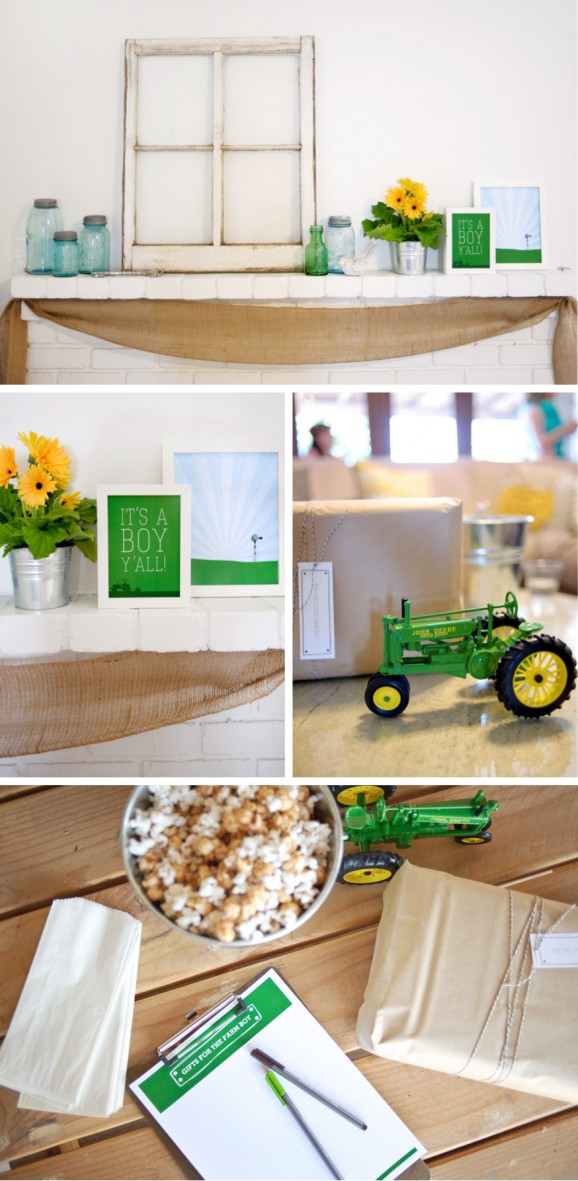 Farm Boy Baby Shower Decor Ideas #babyshower #farm #babyboy