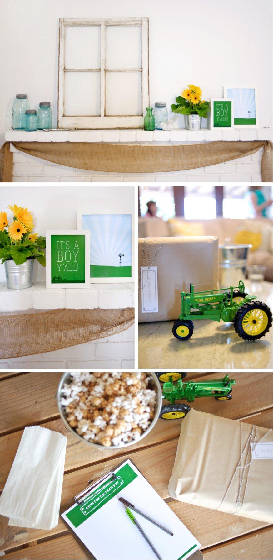 Farm Boy Baby Shower Decor Ideas #babyshower #farm #babyboy